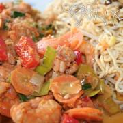 Shrimps und Gemüse im Wok