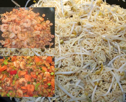 Wokgemüse mit Shrimps